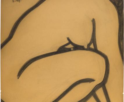 """Crouching Woman 1949  26"""" x 30"""""""