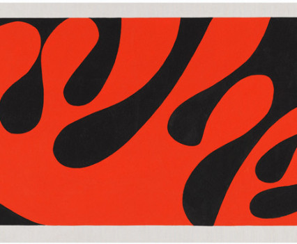 "Red shape on black  Gouache on paper 11""x 21"""