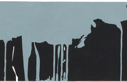 "Untitled 1975 Gouache on paper 10""x24"""