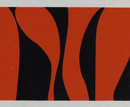 """Red Forest 1977 Gouache on paper 10""""x18"""""""