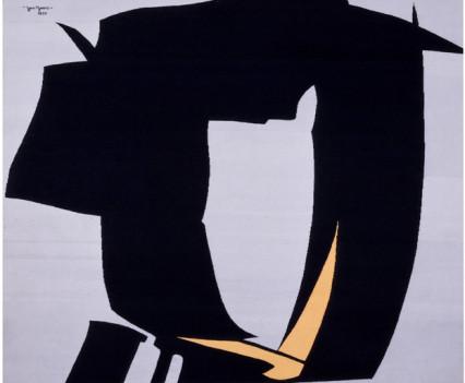 "Yellow Bird Designed: 1977 Woven: 1979 90"" x 96"""