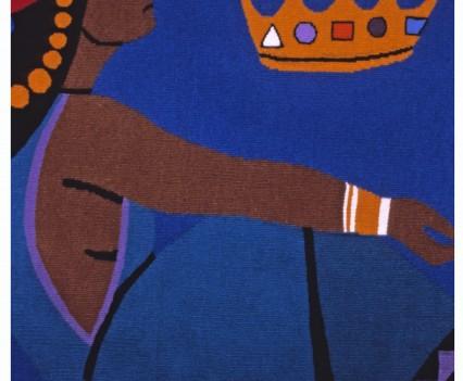 "Queen Esther  Designed: 1947 Woven: 1984-1985 28"" x 32"""