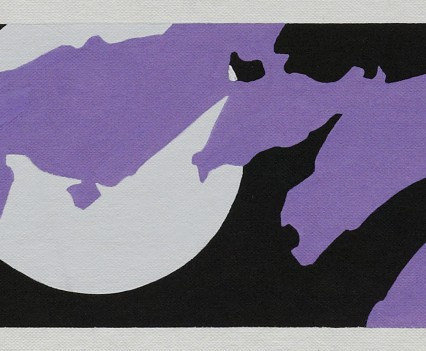 """Clouds and Moon 1974 Gouache on paper 4.5""""x15"""""""
