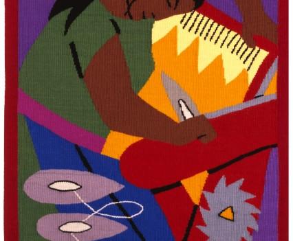 "The Weaver  Designed: 1947 Woven: 1984-1985 28"" x 42"""