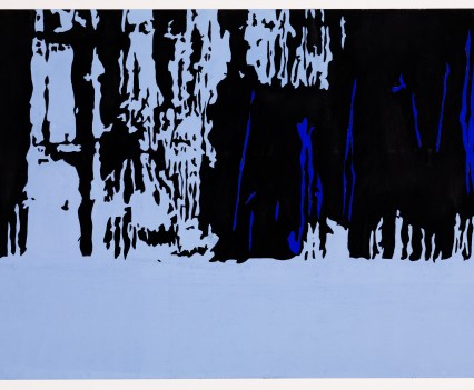 """Siberian Forest 1973 Gouache on paper 12""""x25.6"""""""