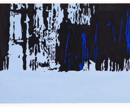 "Siberian Forest 1973 Gouache on paper 12""x25.6"""