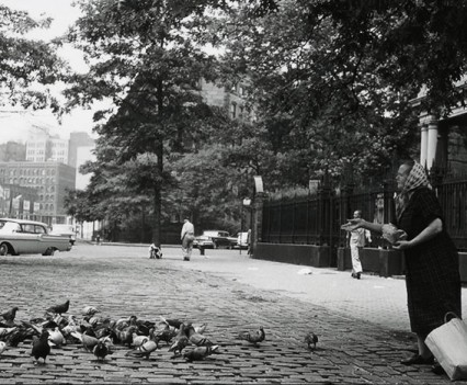 "Untitled, "" Feeding the Pigeons , St Marks Church 1961"""