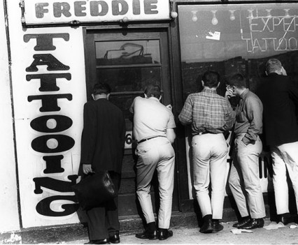 "Untitled, ""Men Outside Tattoo Parlor, Coney Island, 1962"""