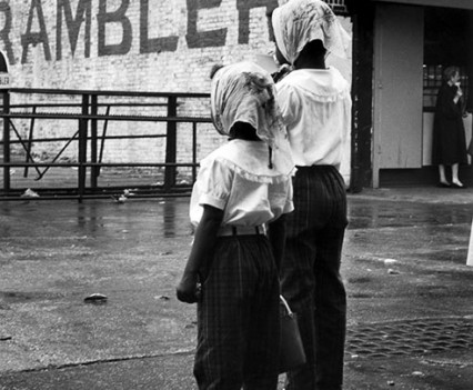 "Untitled, ""Sisters in the Rain, Coney Island, 1962"""