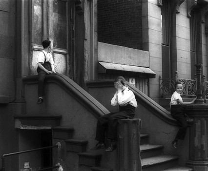 "Untitled, ""Satmar Boys in Front of 550 Bedford Ave, Brooklyn, 1963-1964"""
