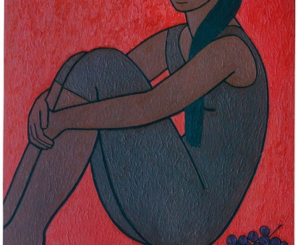 "Ursula with flute and grapes, 1960 48""x36"""