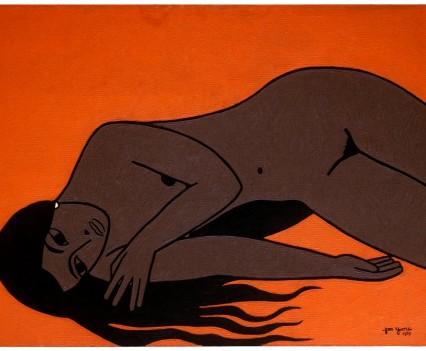 """Sharon on orange background, 1959 36""""x48"""""""