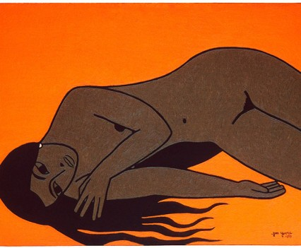 "Sharon on orange background, 1959 36""x48"""