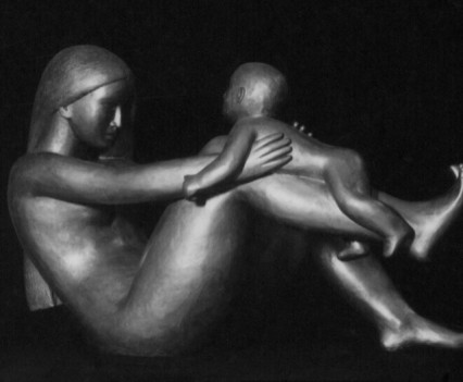 Mother and child 1972, Plaster and paint