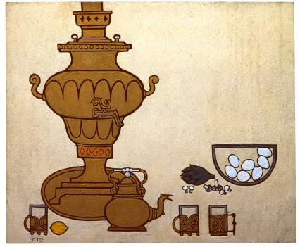 "Still life, Samovar and eggs, 1961 48""x56"""