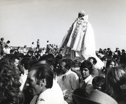 """Statue of Saint Sarah being taken to the sea, Saintes-Maries-de-la-Mer, Camargue France 1971"""